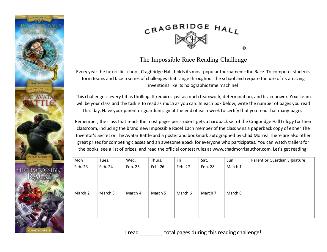 The Impossible Race Reading Challenge Calendar
